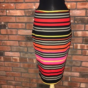 New York & Co stretchy striped skirt with zipper